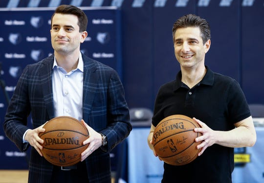 The Memphis Grizzlies' new Executive Vice President of Basketball Operations Zach Kleiman, left, and new franchise President Jason Wexler pose for a photo during a press conference at FedExForum on Friday, April 12, 2019.