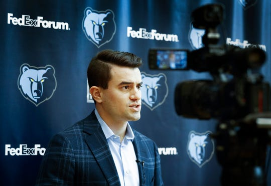 Zach Kleiman, the Memphis Grizzlies' new executive VP of basketball operations talks to the media during a press conference at the FedExFourm April 12, 2019