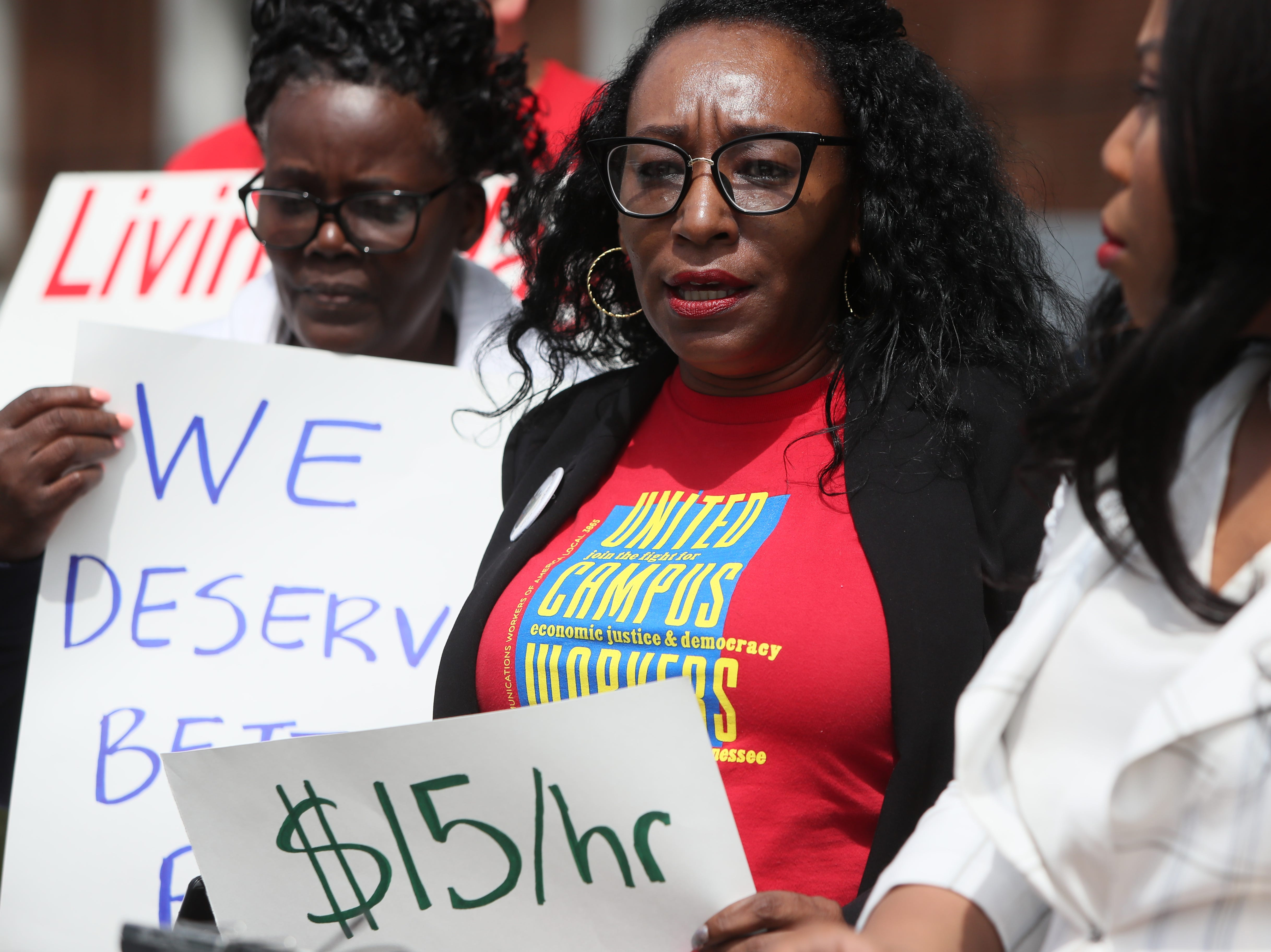 Margaret Cook, vice president of the Memphis chapter of United Campus Workers, speaks during a press conference to address implementing a $15 minimum hourly wage for all campus employees at the University of Memphis on Friday, April 12, 2019.