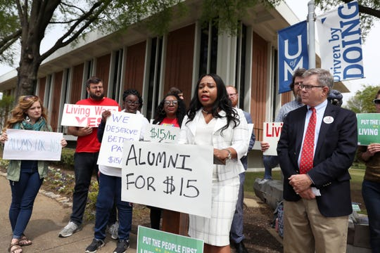 Sen. Katrina Robinson speaks during a press conference to address implementing a $15 minimum hourly wage for all campus employees at the University of Memphis on Friday, April 12, 2019.