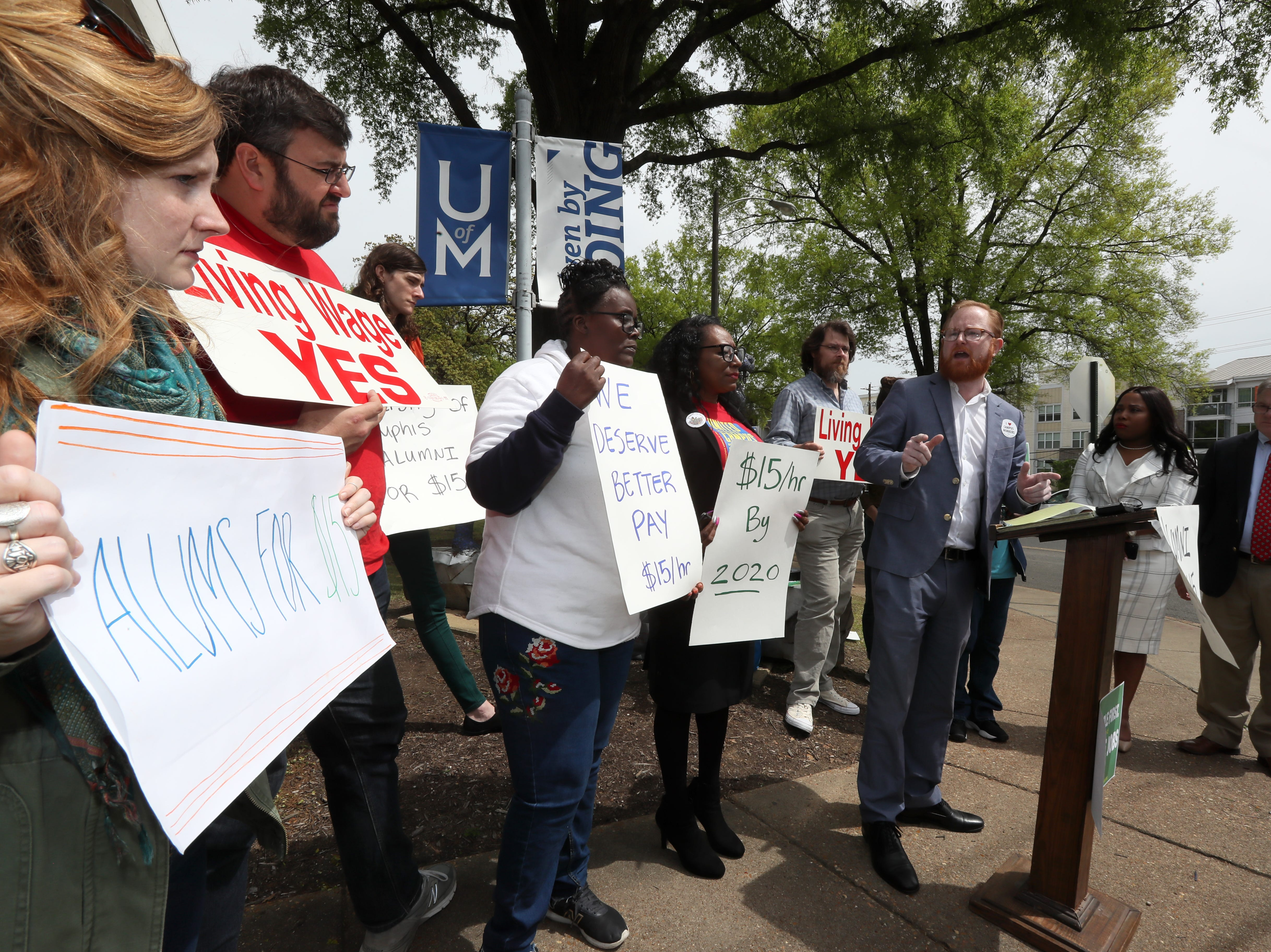Allan Creasy speaks during a press conference to address implementing a $15 minimum hourly wage for all campus employees at the University of Memphis on Friday, April 12, 2019.