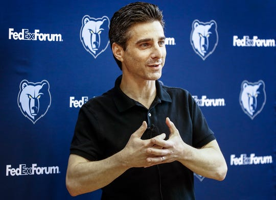 Jason Wexler, the Memphis Grizzlies' new President talks to the media during a press conference at the FedExFourm April 12, 2019