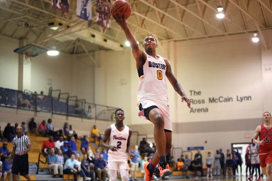 DJ Jeffries drives to the hoop during the Jack Jones Shootout at Memphis University School on Thursday, April 11, 2019.