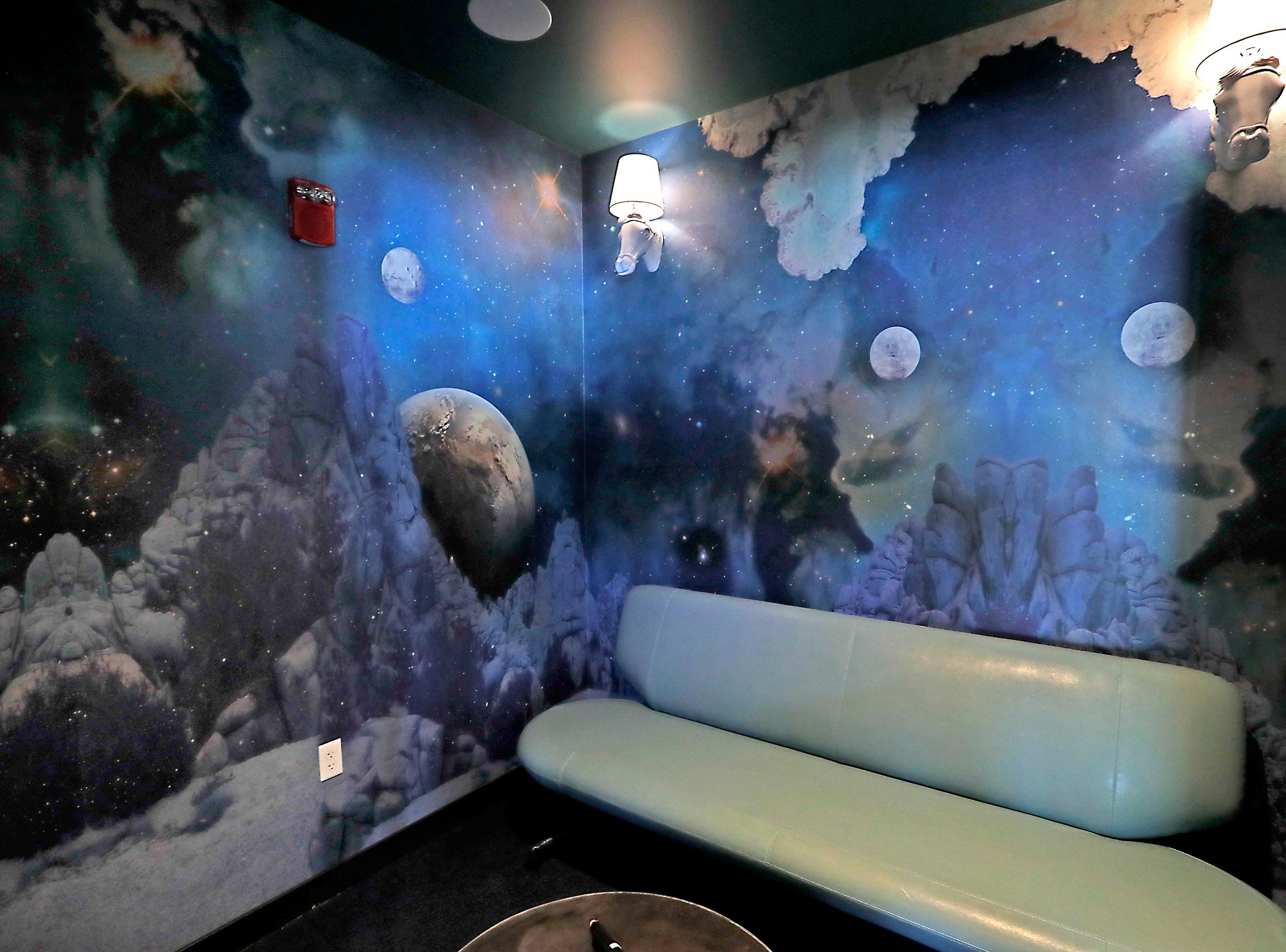 "A karaoke room is dubbed ""Space Cowboy,"" in honor of the Steve Miller Band at Punch Bowl Social. The private karaoke rooms are available for rent."