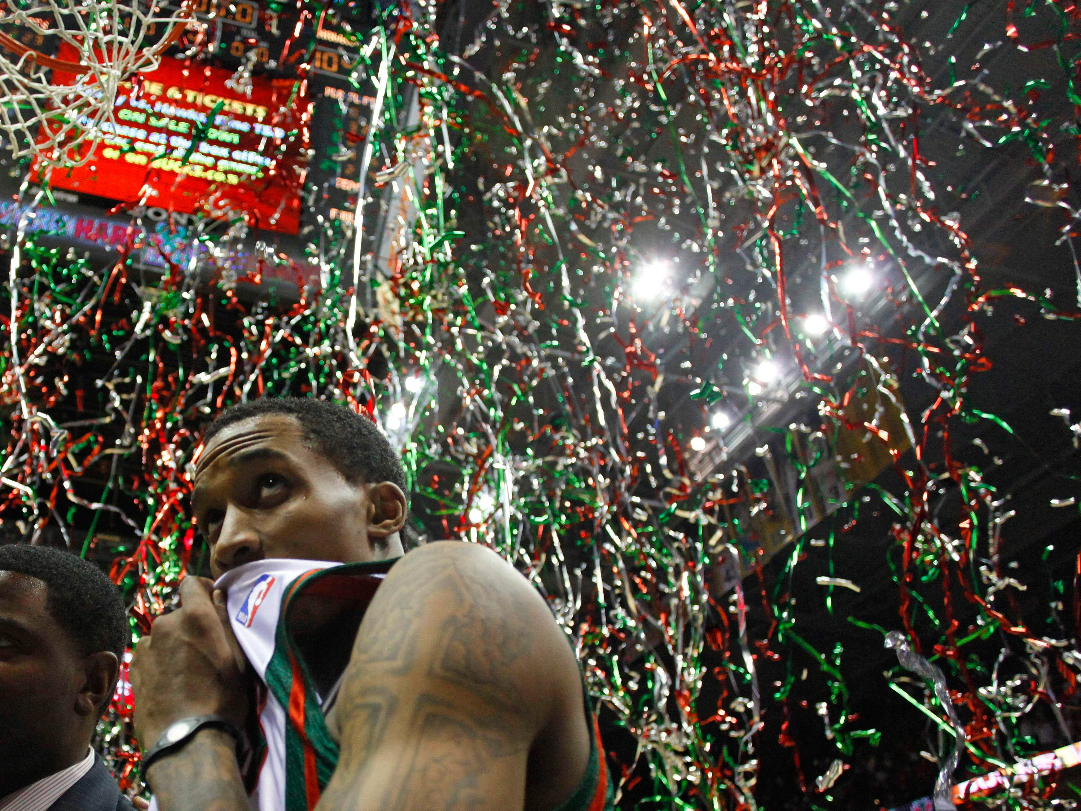 2010: Milwaukee's Brandon Jennings is showered with confetti after the Bucks won Game 4 of the first-round Eastern Conference playoffs, 111-104, on April 26, 2010, at the Bradley Center. The Hawks ended up beating the Bucks in seven games.