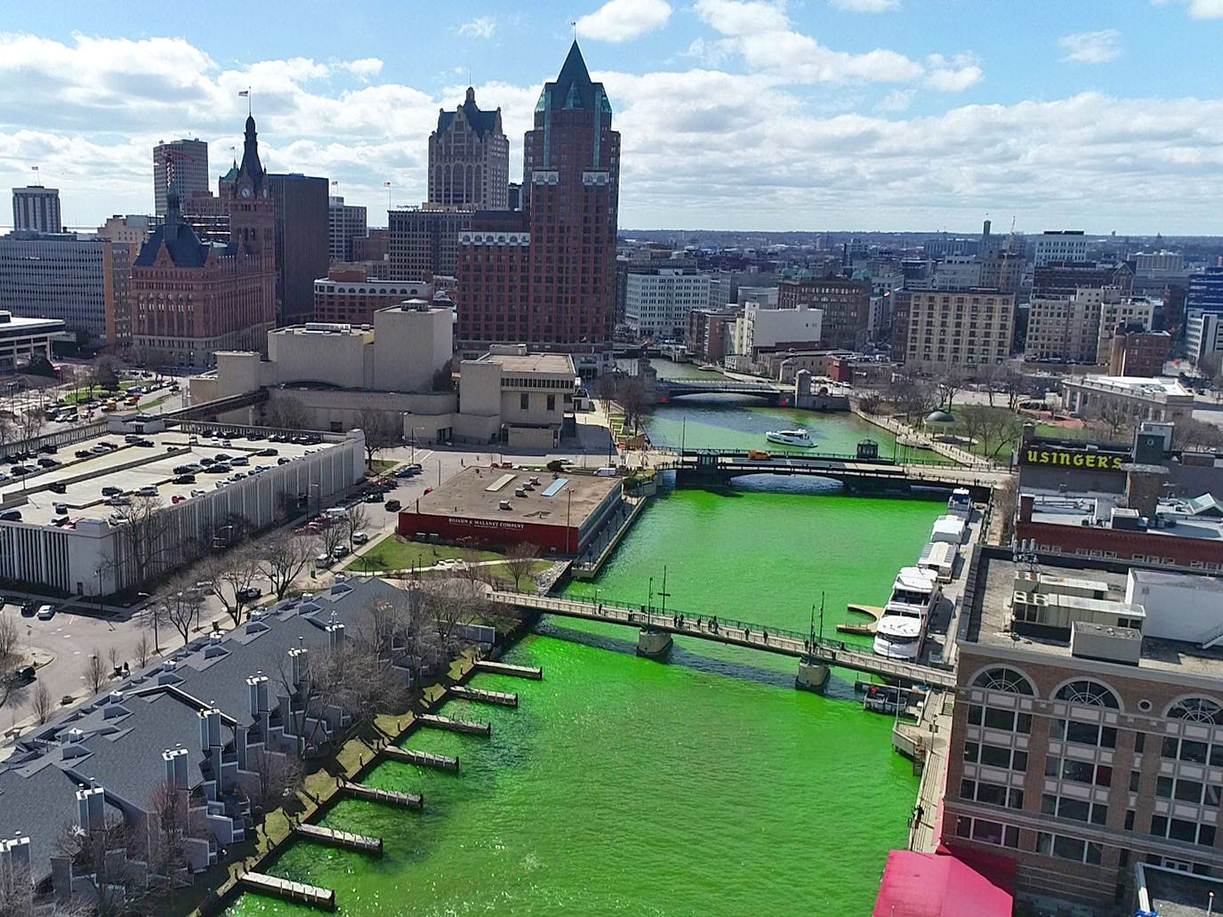 Milwaukee celebrated the start of the Milwaukee Bucks in the NBA Playoffs by dyeing the Milwaukee River green in Milwaukee on Friday, April 12, 2019. The Bucks partnered with the city and the state Department of Natural Resources to dye the river green and throw a kickoff party near Fiserv Forum.