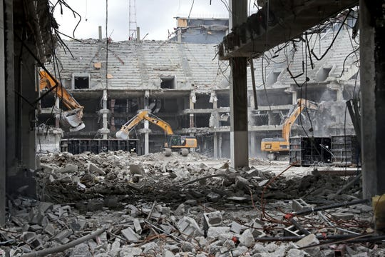 Work continues on the demolition of the Bradley Center in downtown Milwaukee.