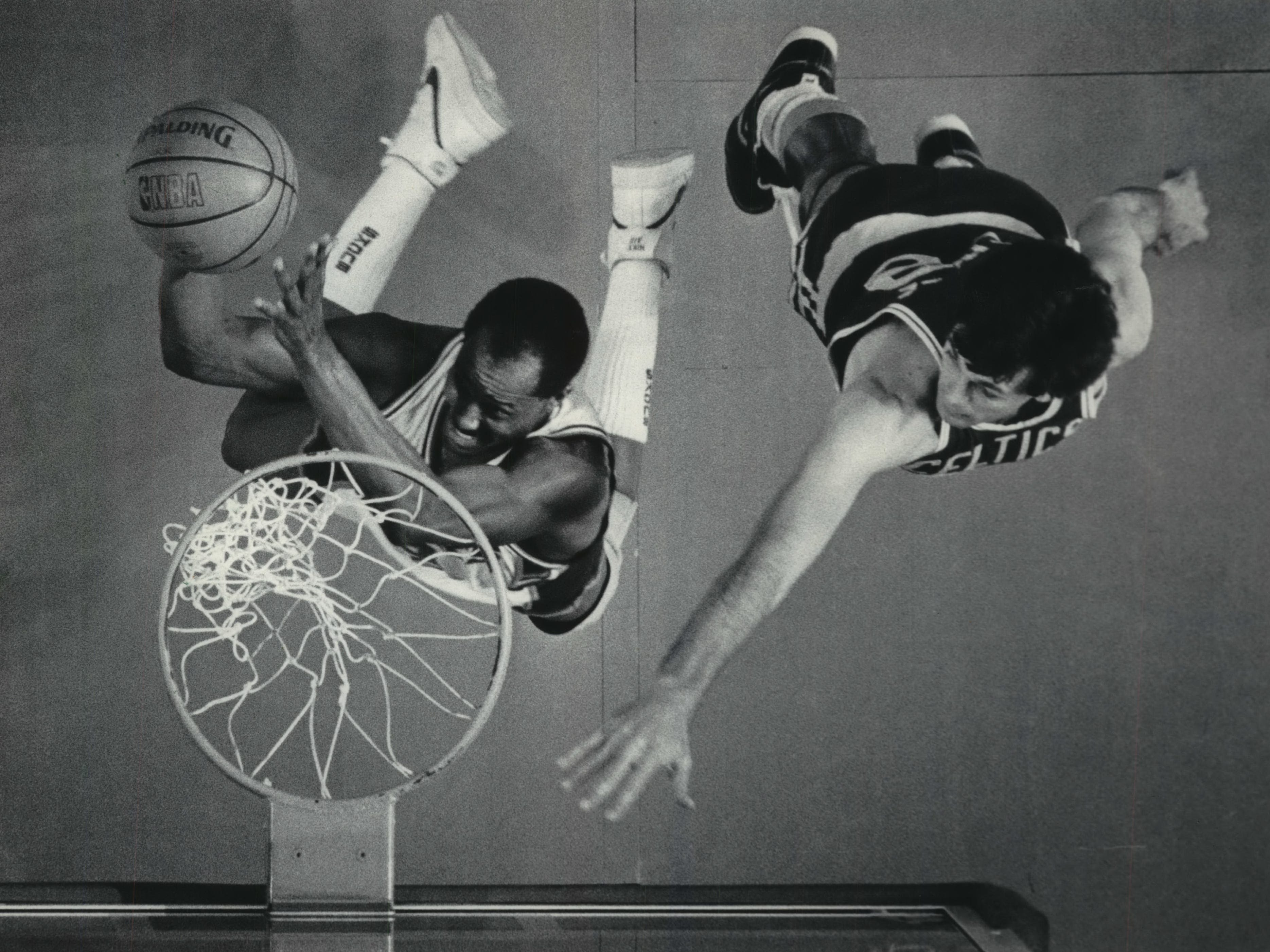 1986: Bucks forward Sidney Moncrief maneuvers past Boston Celtic Kevin McHale for a layup during Game 3 of the Eastern Conference championship series at the Milwaukee Arena on May 17, 1986. Boston beat Milwaukee, 111-107. The Celtics ended up sweeping the Bucks in the series, 4-0.This photo was published in the May 18, 1986, Milwaukee Journal.