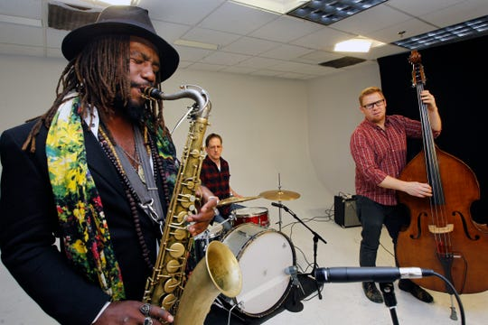 Jazz trio Stomata with (from left) Jay Anderson, Dave Schoepke and John Paul Simons, perform in the Journal Sentinel's studios for their Sound Check series.