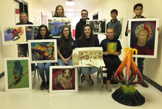 Norfork students earning honors at the Arkansas Young Artist Competition in Little Rock were: (first row, from left)McKenna Beck, Kasady Sutterfield, Madison Woody, Micah Dwyer, (second row)Kayley Payne, Mackenzie Rangel, Russell Salyer, Bryson Theil andJaden Bennett. Not Pictured:Haston Hurst and Chad Mabry.