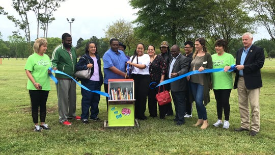 A new mobile free library opened in Charles Johnson park on Friday.