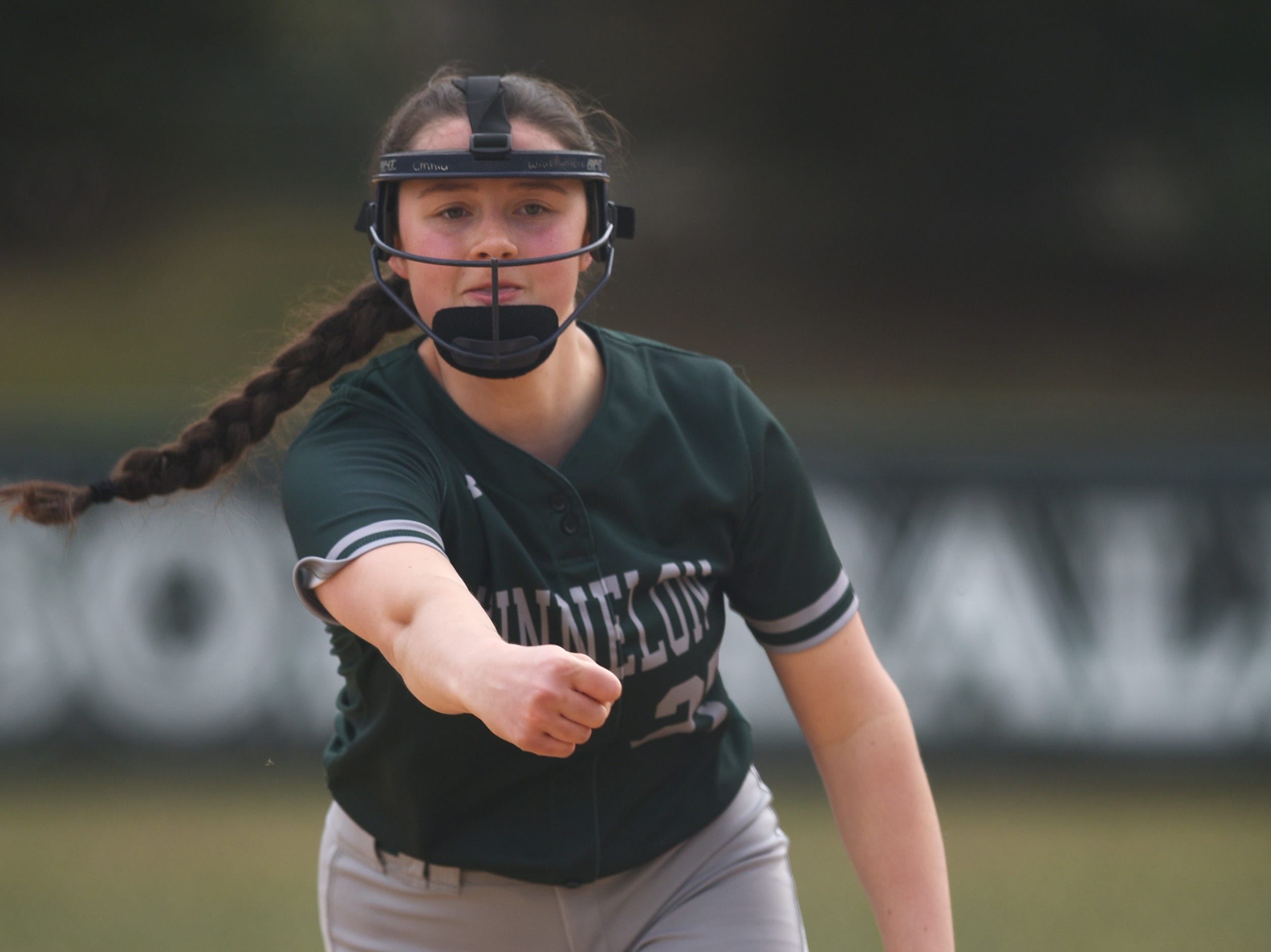 Pequannock at Kinnelon softball game in Kinnelon on Friday April 12, 2019. K#27 Emma Whittemore pitches the ball.
