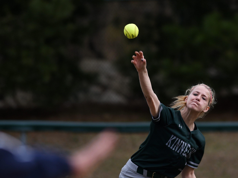 Pequannock at Kinnelon softball game in Kinnelon on Friday April 12, 2019. K#3 Jess Handzo throws the ball.