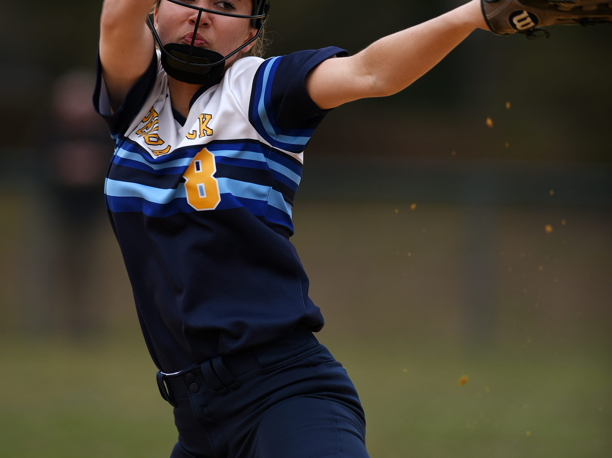 Pequannock at Kinnelon softball game in Kinnelon on Friday April 12, 2019. P#8 Brielle Toone pitches the ball.