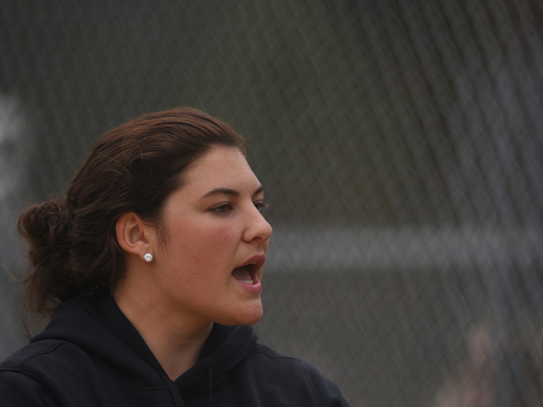 Pequannock at Kinnelon softball game in Kinnelon on Friday April 12, 2019. Kinnelon coach Marissa Bariso applauds during the game.