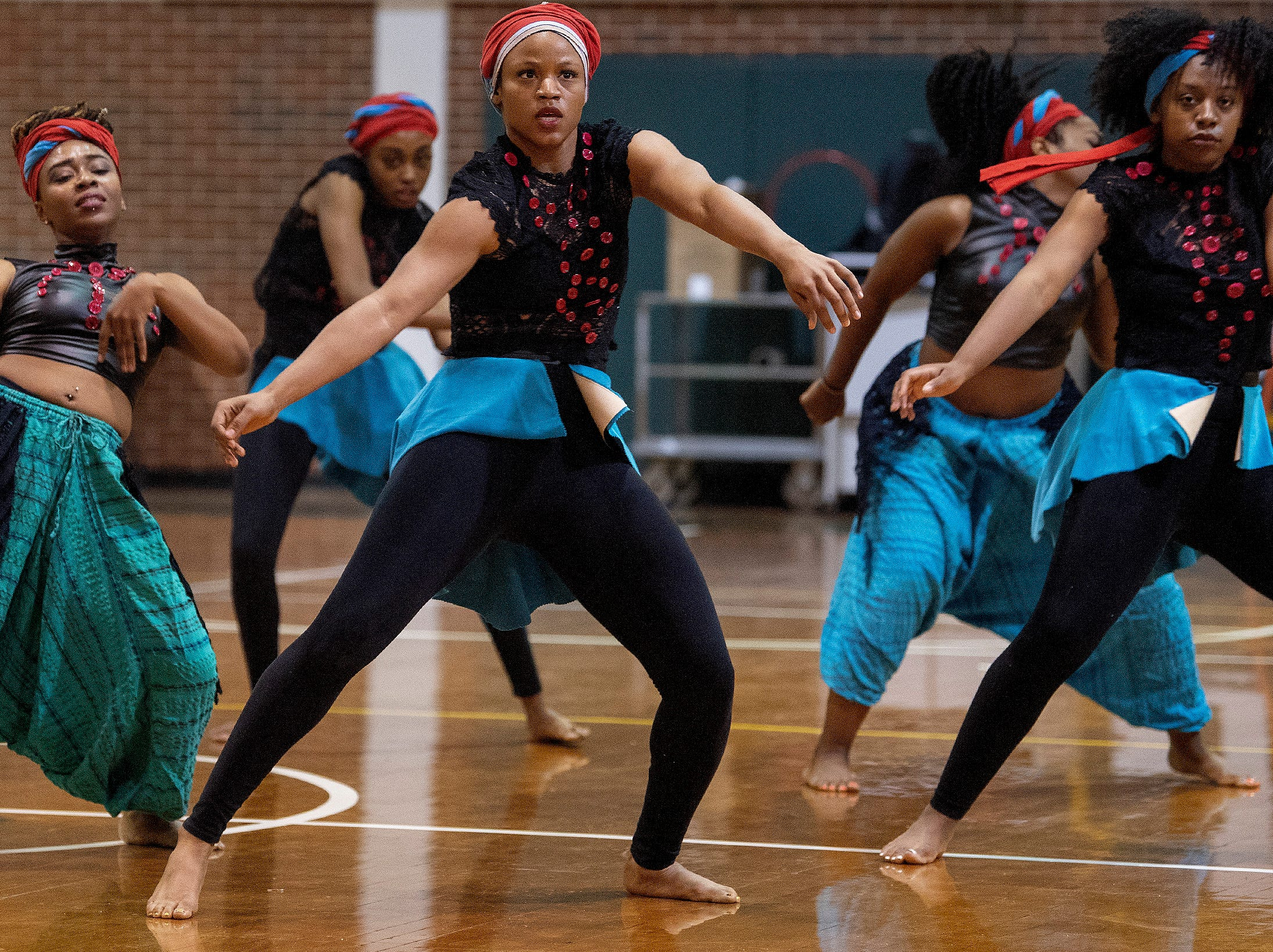 Alabama State University dancers perform during the ASU President's Tour visit at Jeff Davis High School in Montgomery, Ala., on Friday April 12, 2019.