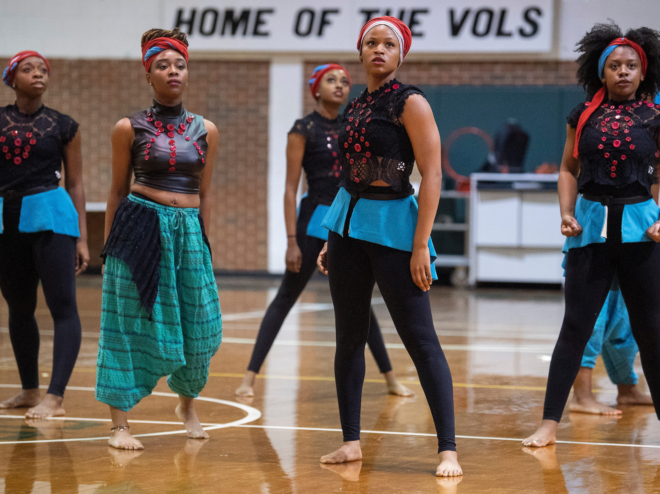 Alabama State University dancers performs during the ASU President's Tour stop at Jeff Davis High School in Montgomery, Ala., on Friday April 12, 2019.