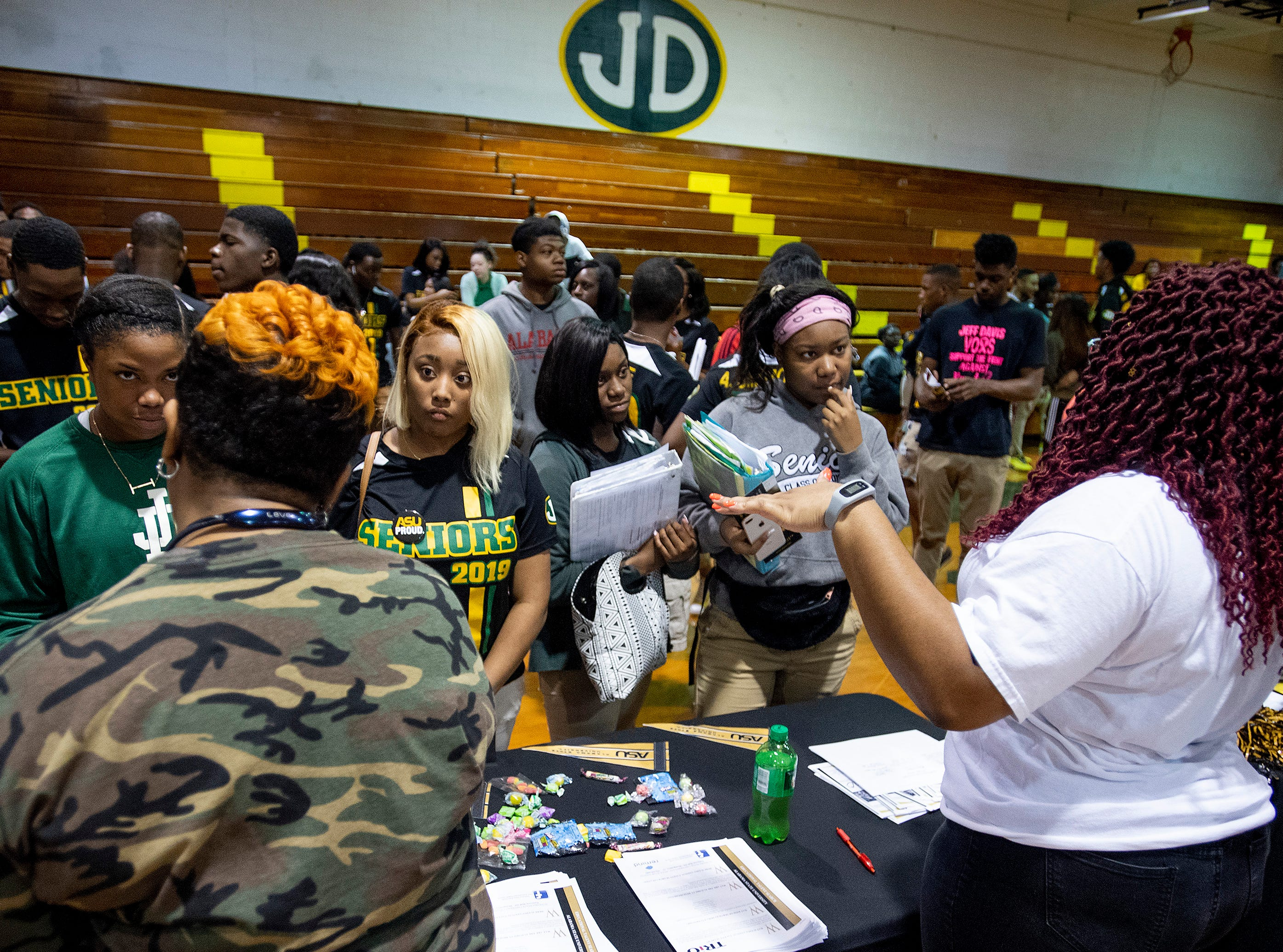 Jeff Davis High School seniors meet faculty and staff from Alabama State University during the ASU President's Tour visit to Jeff Davis High School in Montgomery, Ala., on Friday April 12, 2019.