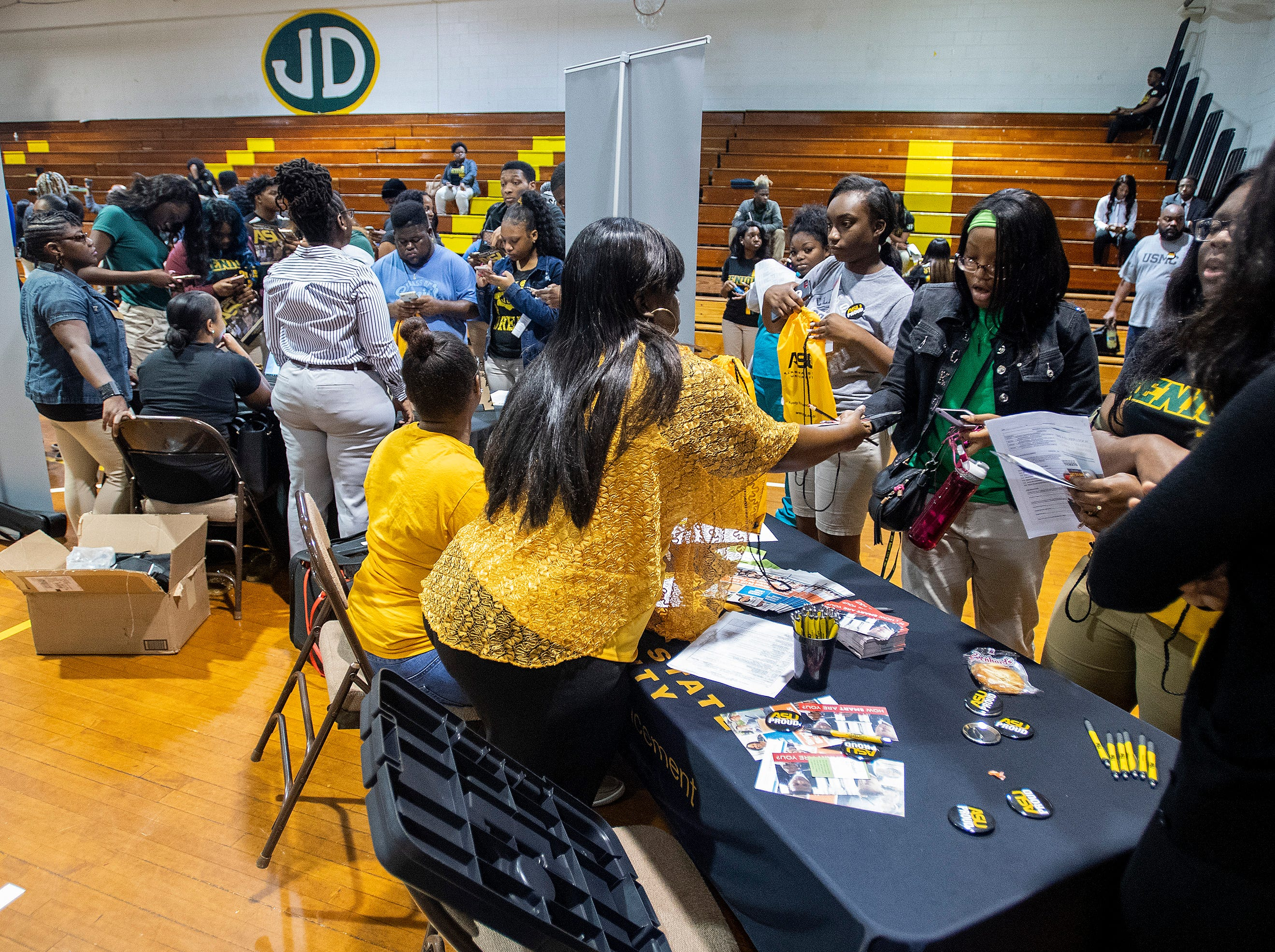 The Alabama State University President's Tour visits Jeff Davis High School in Montgomery, Ala., on Friday April 12, 2019.