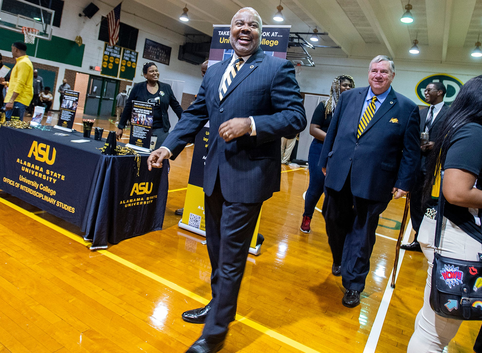 Alabama State University President Quinton Ross visits with Jeff Davis High School students during the ASU President's Tour stop at the school in Montgomery, Ala., on Friday April 12, 2019.