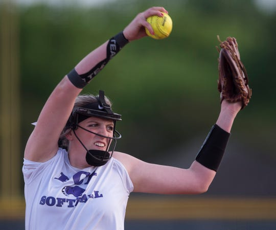 Prattville Christian's Landyn McAnnally (24) pitches at St. James High School in Montgomery, Ala., on Thursday, April 11, 2019. Prattville Christian defeated St. James 8-1.