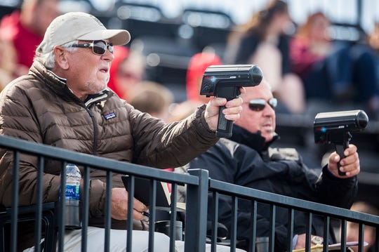 Scouts attend Ball State's game against Eastern Michigan at Ball Diamond Friday, April 12, 2019.