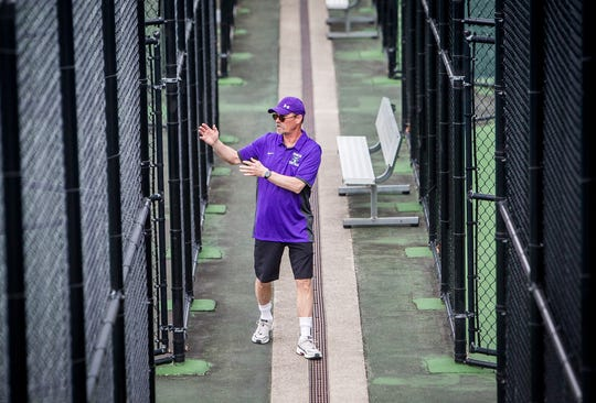 Central coach Don Wafer during the match against Burris at Ball State Thursday, April 11, 2019.