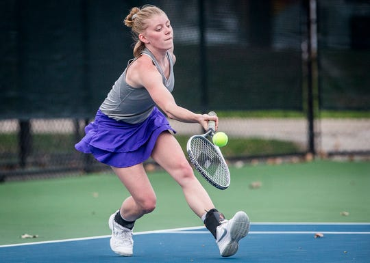 FILE -- Central's Sarah Billiter earned a singles win Wednesday against Yorktown in the Delta Sectional semifinals.