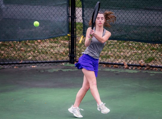 FILE -- Central's Katie Hunter picked up a win at No. 1 singles to help the Bearcats to a 3-2 victory over Bluffton on Monday.