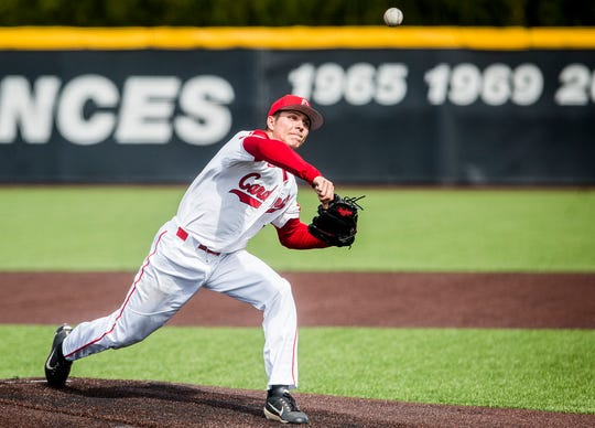 Ball State pitcher Drey Jameson pitches against Eastern Michigan during their game at Ball Diamond Friday, April 12, 2019.