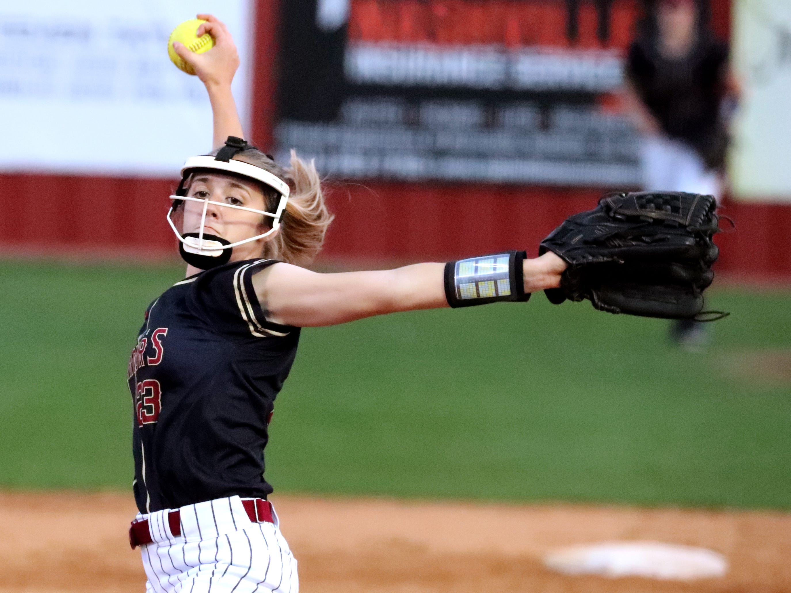 Riverdale's Becca Komers (23) pitches against Siegel on Thursday April 11, 2019, at Riverdale.