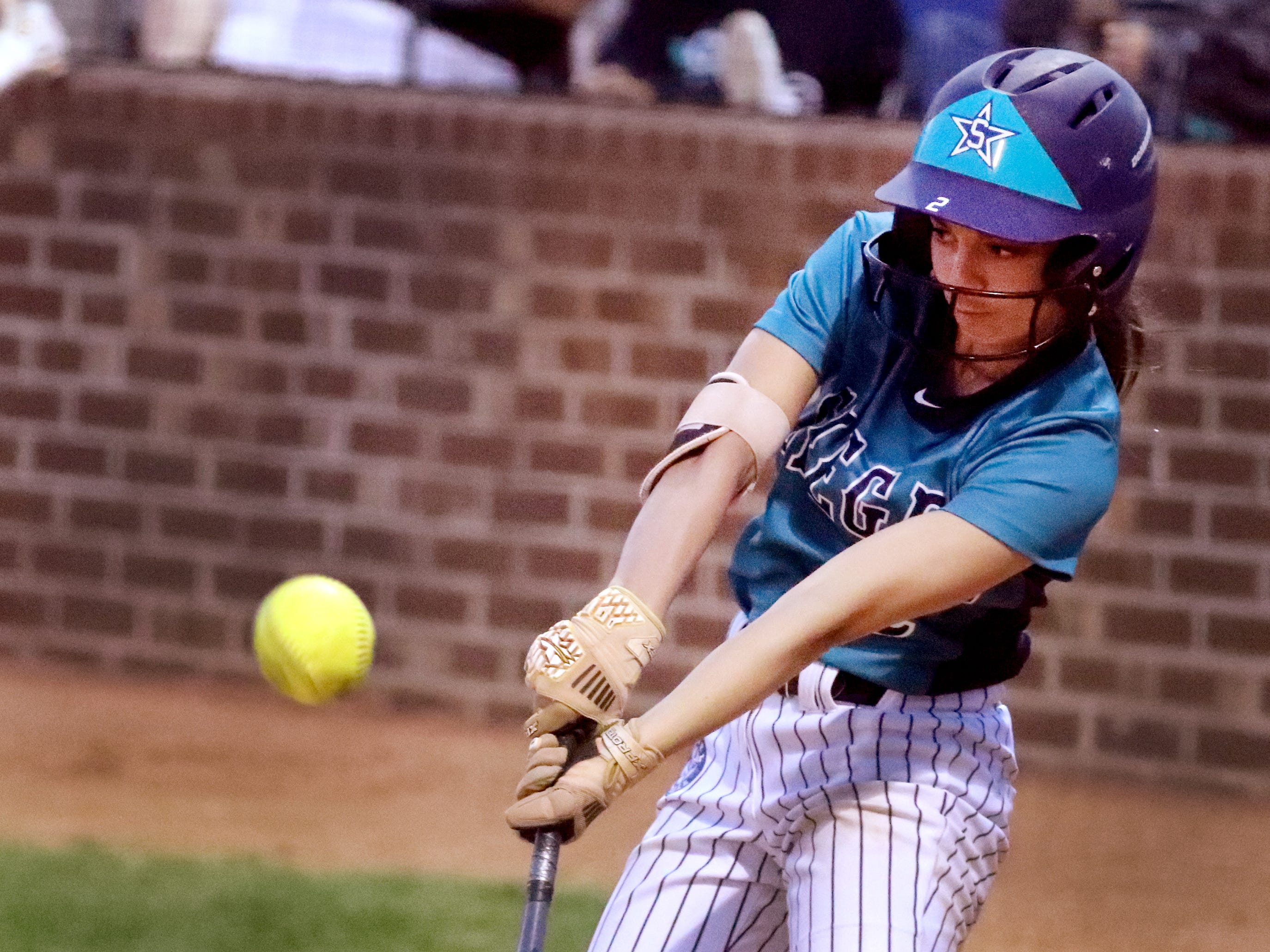 Siegel's Reagan Duran (2) makes contact with the ball during the game against Riverdale on Thursday April 11, 2019, at Riverdale.