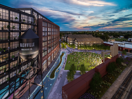 This rendering shows the Nashville Warehouse Company site at Fourth Avenue and Chestnut Street. The guitar-shaped scoreboard from Greer Stadium can be seen on the right.