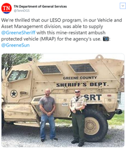 The state Department of General Services helped the Greene County Sheriff's Office obtain a surplus military tank.