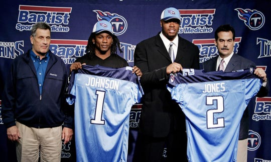 Tennessee Titans first-round draft pick, Chris Johnson, second from left, and second-round pick, defensive lineman Jason Jones, second from right, are introduce to the media by general manager Mike Reinfeldt, left, and head coach Jeff Fisher in Nashville April 27, 2008.