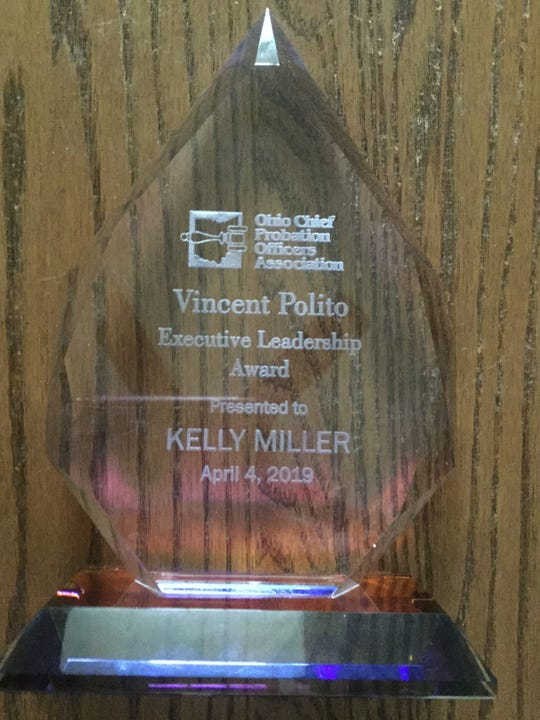 Retired Licking County chief probation officer Kelly Miller posthumously received the Vincent Polito Executive Leadership Award from the Ohio Chief Probation Officers Association on Thursday, April 4, 2019.