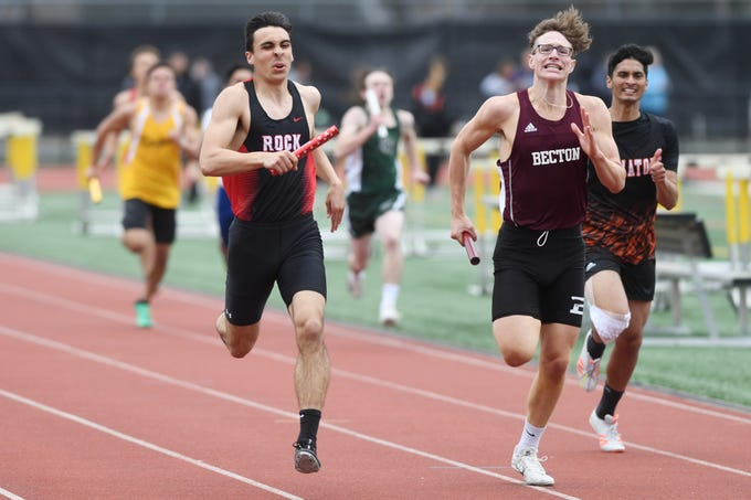 Bergen County Relays at River Dell H.S in Oradell on Friday, April 12, 2019. (left) Jack Piazza, of Glen Rock, and Stephen Henke, of Becton, in the 800 Meter Relay.