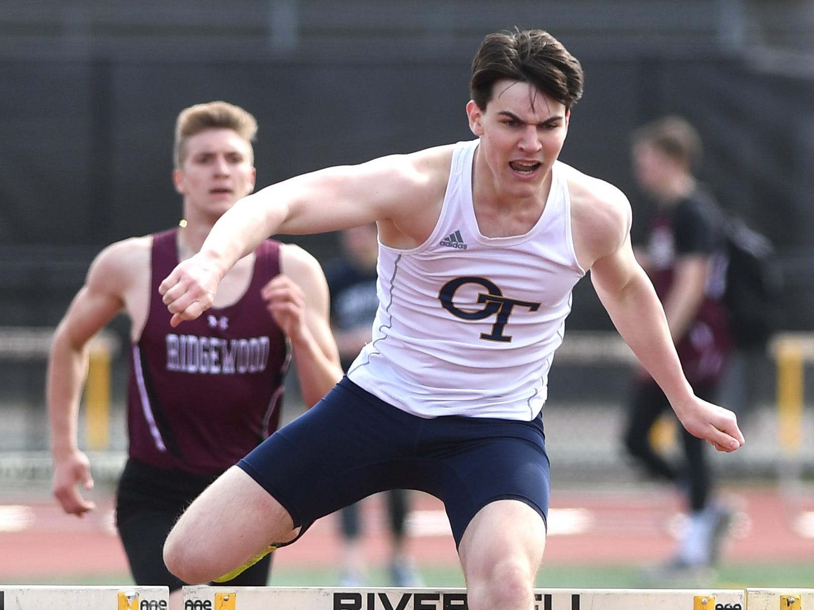 Bergen County Relays at River Dell H.S in Oradell on Friday, April 12, 2019. Ryan Jordan, of Old Tappan, in the 3 X 400 Hurdles.