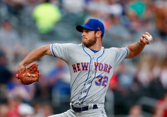 New York Mets starting pitcher Steven Matz works in the first inning of the team's baseball game against the Atlanta Braves on Thursday, April 11, 2019, in Atlanta.