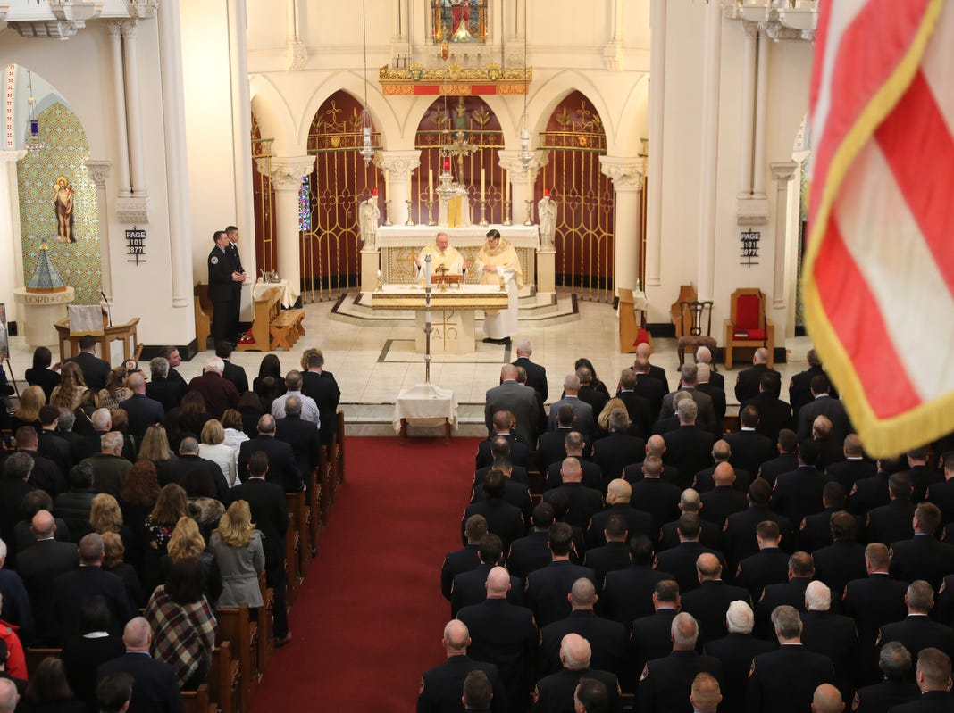 The funeral Mass for Lt.Timothy O'Neill at the Sacred Heart Church. New York City Fire Department Lt. Timothy O'Neill's funeral was held at Sacred Heart Church in Staten Island on April 12, 2019. O'Neill died of pancreatic cancer attributed to the time he spent at Ground Zero after the attacks of September 11, 2001.
