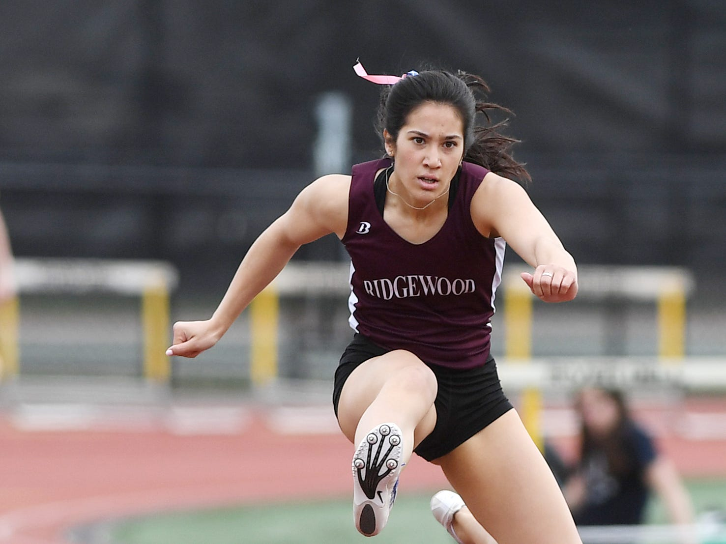 Bergen County Relays at River Dell H.S in Oradell on Friday, April 12, 2019. Katherine Muccio, of Ridgewood, in the 3 X 400 Hurdles.