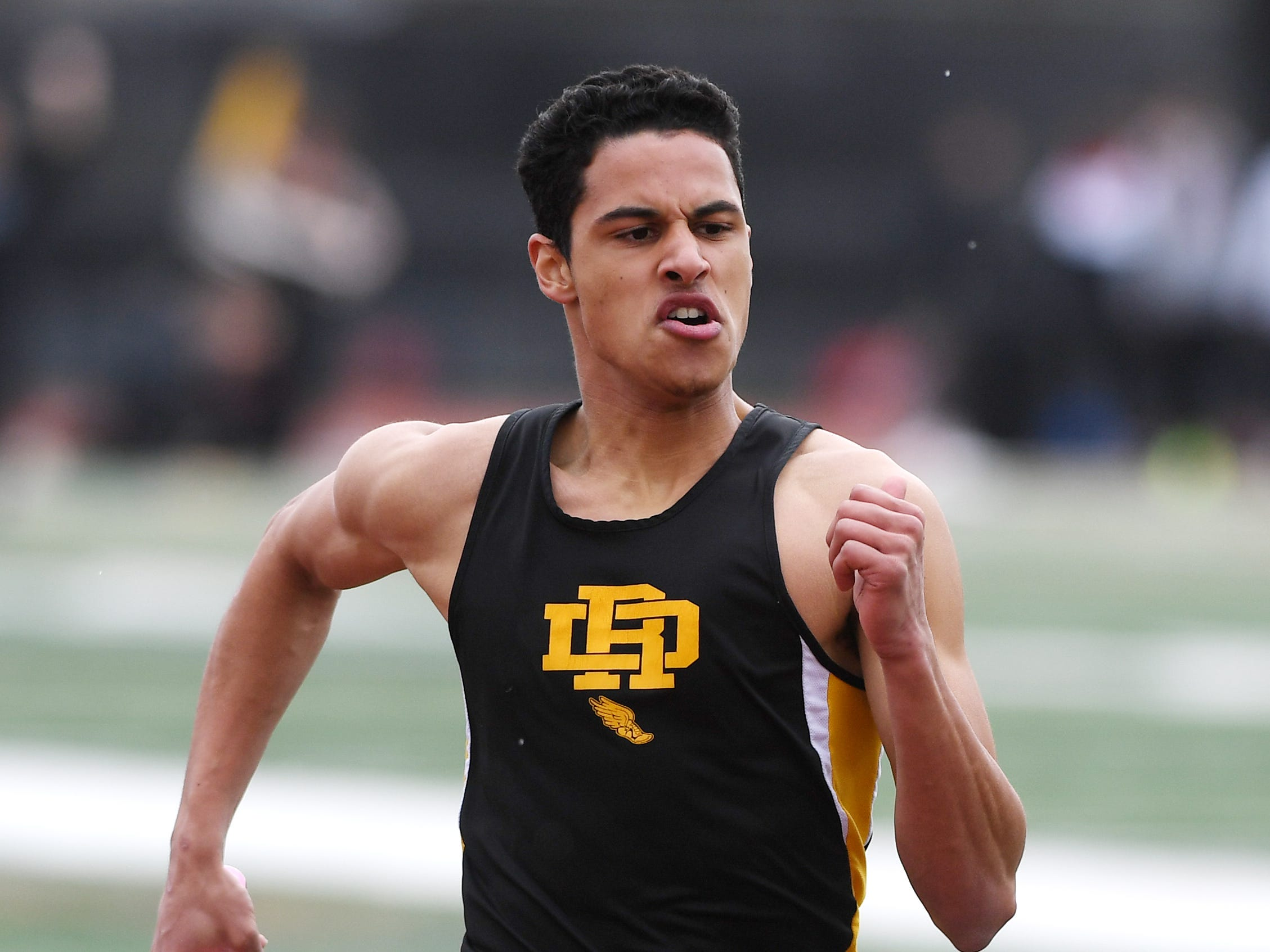Bergen County Relays at River Dell H.S in Oradell on Friday, April 12, 2019. Andrew Sanchez, of River Dell, in the 800 Meter Relay.