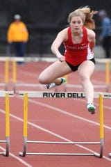 Bergen County Relays at River Dell H.S in Oradell on Friday, April 12, 2019. Grace Smiechowski, of Northern Highlands, in the 3 X 400 Hurdles.