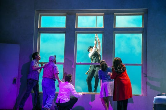 """Benny & Joon"" at Paper Mill Playhouse; LEFT TO RIGHT: Paolo Montalban (Larry), Jacob Keith Watson (Waldo), Colin Hanlon (Mike), Bryce Pinkham (Sam), Tatiana Wechsler (Ruthie), and Natalie Toro (Dr. Cortez)"