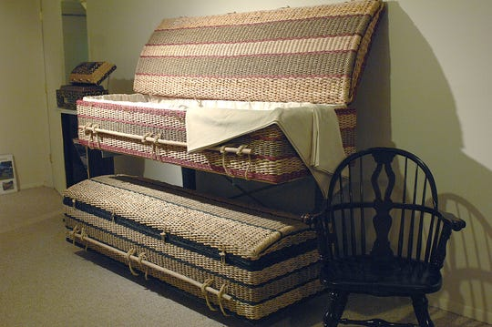 Woven wicker baskets are used in place of wooden caskets in green burials at Feeney Funeral Home in Ridgewood, NJ.