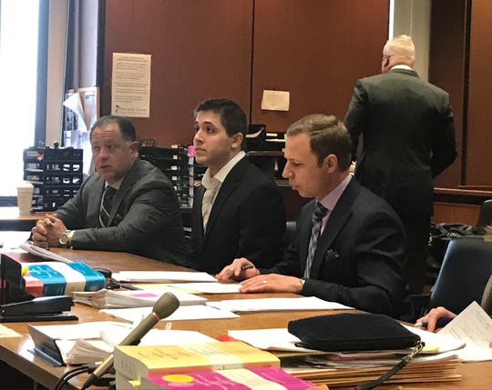 Anthony Casale jr., center, awaits his sentencing April 12, 2019 in the death of a pregnant Verona woman in 2017.