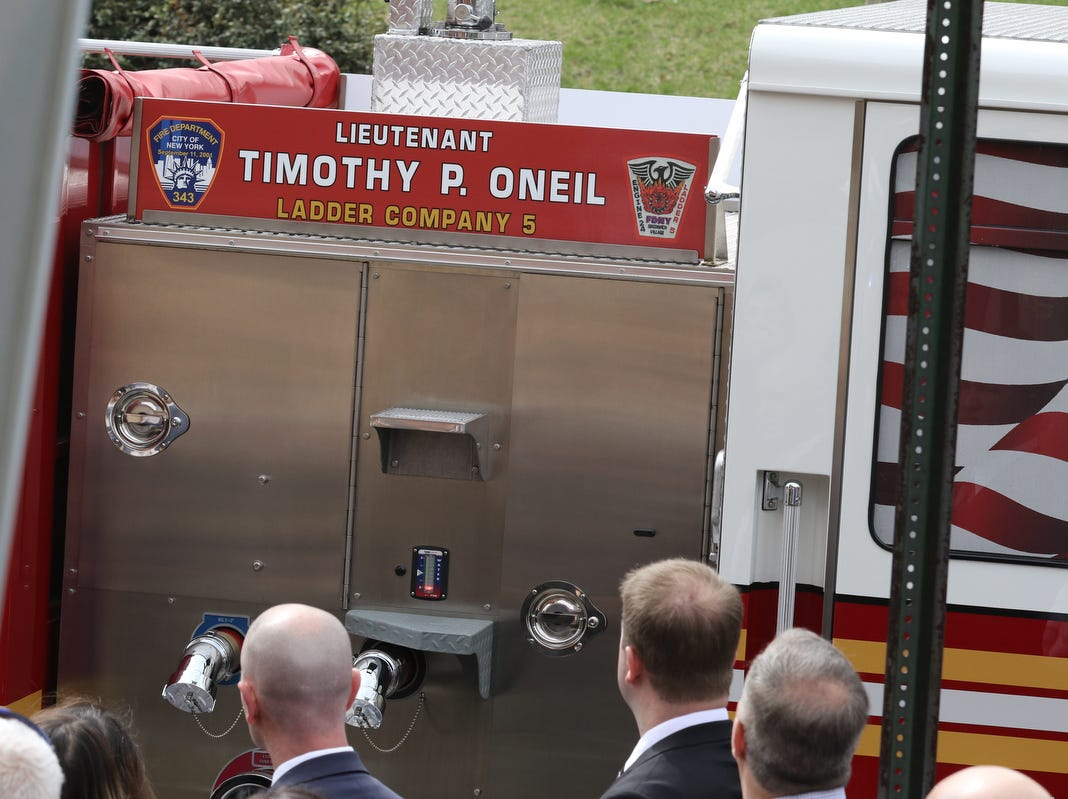 The truck that brought the remans of Lt.Timothy O'Neill are brought to the Sacred Heart Church before his funeral Mass. New York City Fire Department Lt. Timothy O'Neill's funeral was held at Sacred Heart Church in Staten Island on April 12, 2019. O'Neill died of pancreatic cancer attributed to the time he spent at Ground Zero after the attacks of September 11, 2001.