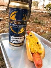 """""""Now that's a FAIRMOUNT of KRAUT on that dog"""" hot dog from Callahan's, made with Fairmount Pale Ale from Hackensack Brewing Co."""