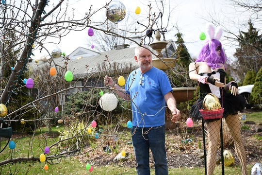 Easter display on Grove Street inClifton on Friday April 12, 2019.