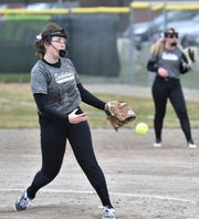 Seaholm pitcher Abby Righter pitches the first game to Marian on April 11 in Birmingham.